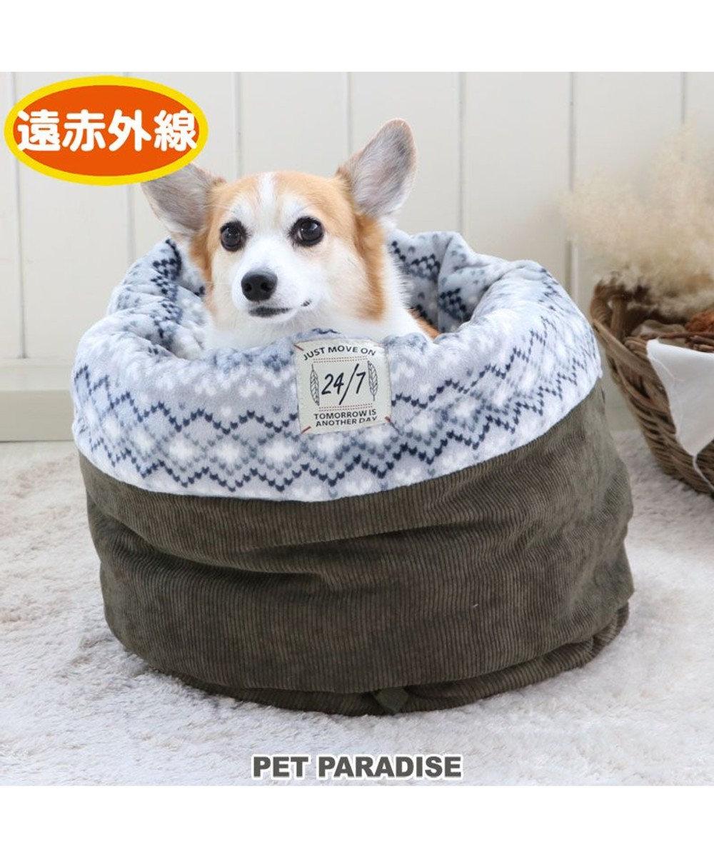 PET PARADISE 犬 ベッド おしゃれ 遠赤外線 寝袋 カドラー (42×70cm) フェアアイル柄 筒型 暖かい あったか 保温 防寒 防寒対策 もこもこ ふわふわ 介護 おしゃれ かわいい -