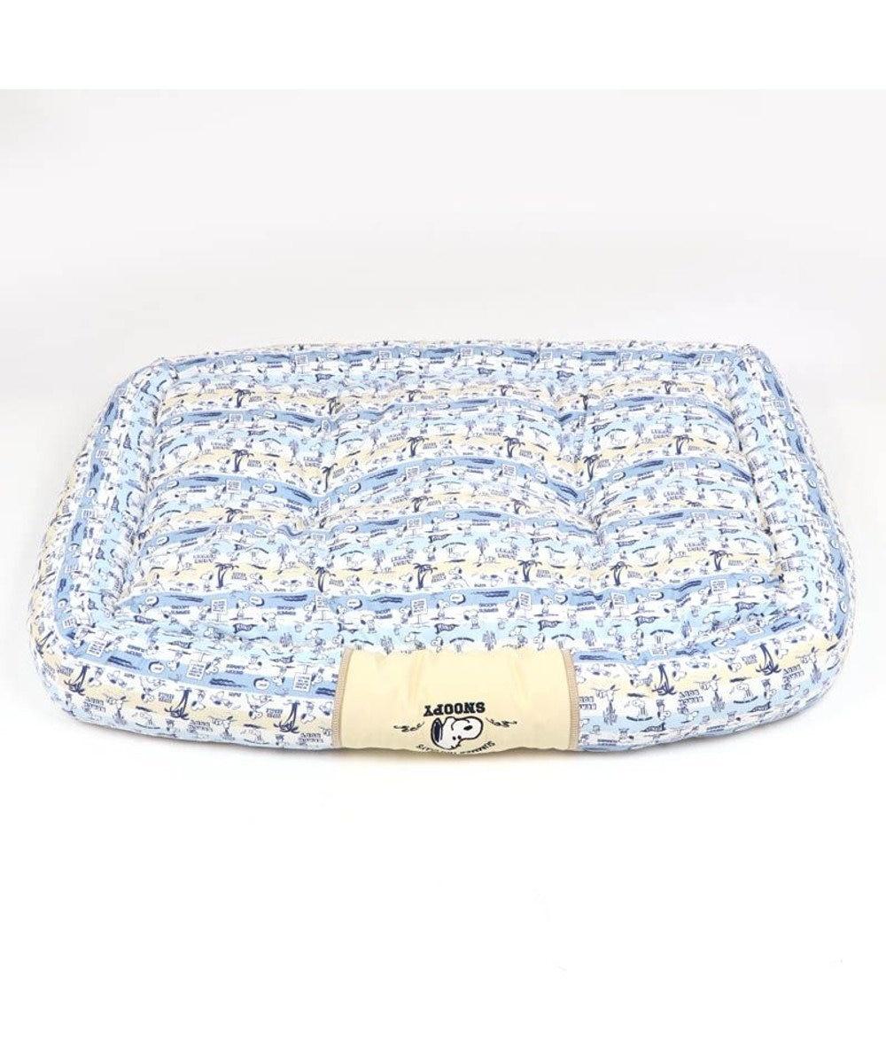 PET PARADISE 犬 春夏 クール 接触冷感 スヌーピー 四角カドラーベッド(100×70cm) サーフ柄 犬 猫 ベッド マット 小型犬 介護 おしゃれ かわいい ふわふわ あごのせ 水色