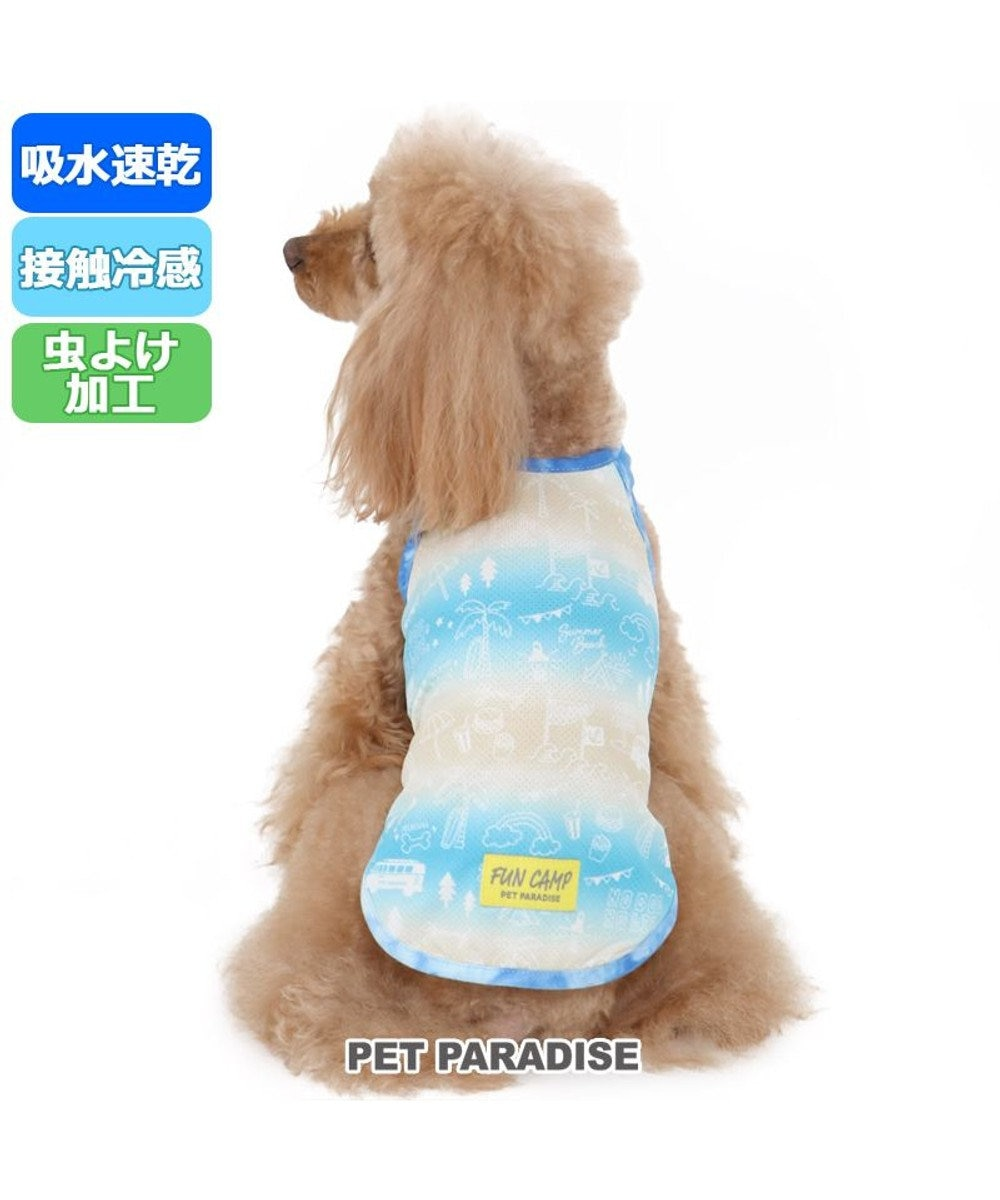 PET PARADISE 犬服 犬 服 ペットパラダイス クール 接触冷感 虫よけ 総柄 メッシュ タンクトップ 〔小型犬〕 超小型犬 小型犬 メッシュ ひんやり 夏 涼感 冷却 吸水速乾 クールマックス 青