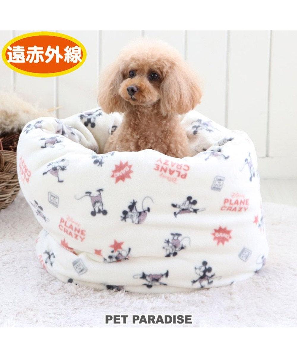 PET PARADISE 犬 ベッド おしゃれ 遠赤外線 ディズニー ミッキーマウス 寝袋 カドラー (42×70cm) プレーン 筒型 暖かい あったか 保温 防寒 防寒対策 もこもこ ふわふわ 介護 おしゃれ かわいい 白