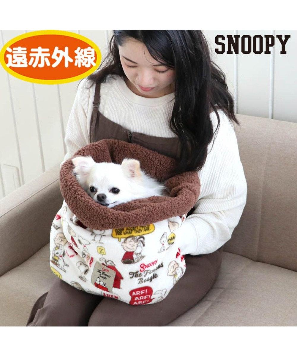 PET PARADISE 犬 ベッド おしゃれ 遠赤外線 スヌーピー 犬たんぽ (32×38cm) 仲良し柄 寝袋 もこもこ ふわふわ 犬 猫 ベッド ベット 小型犬 介護 おしゃれ かわいい クッション 白~オフホワイト