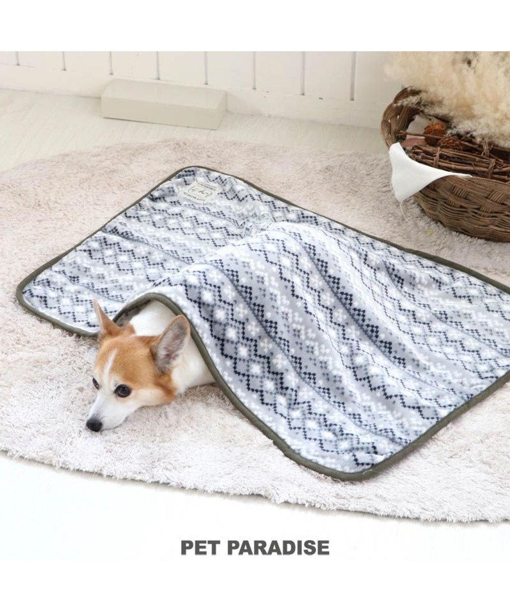 PET PARADISE 犬 猫 毛布 ブランケット (90×60cm) フェアアイル柄 ひざかけ ステイマット あったか -