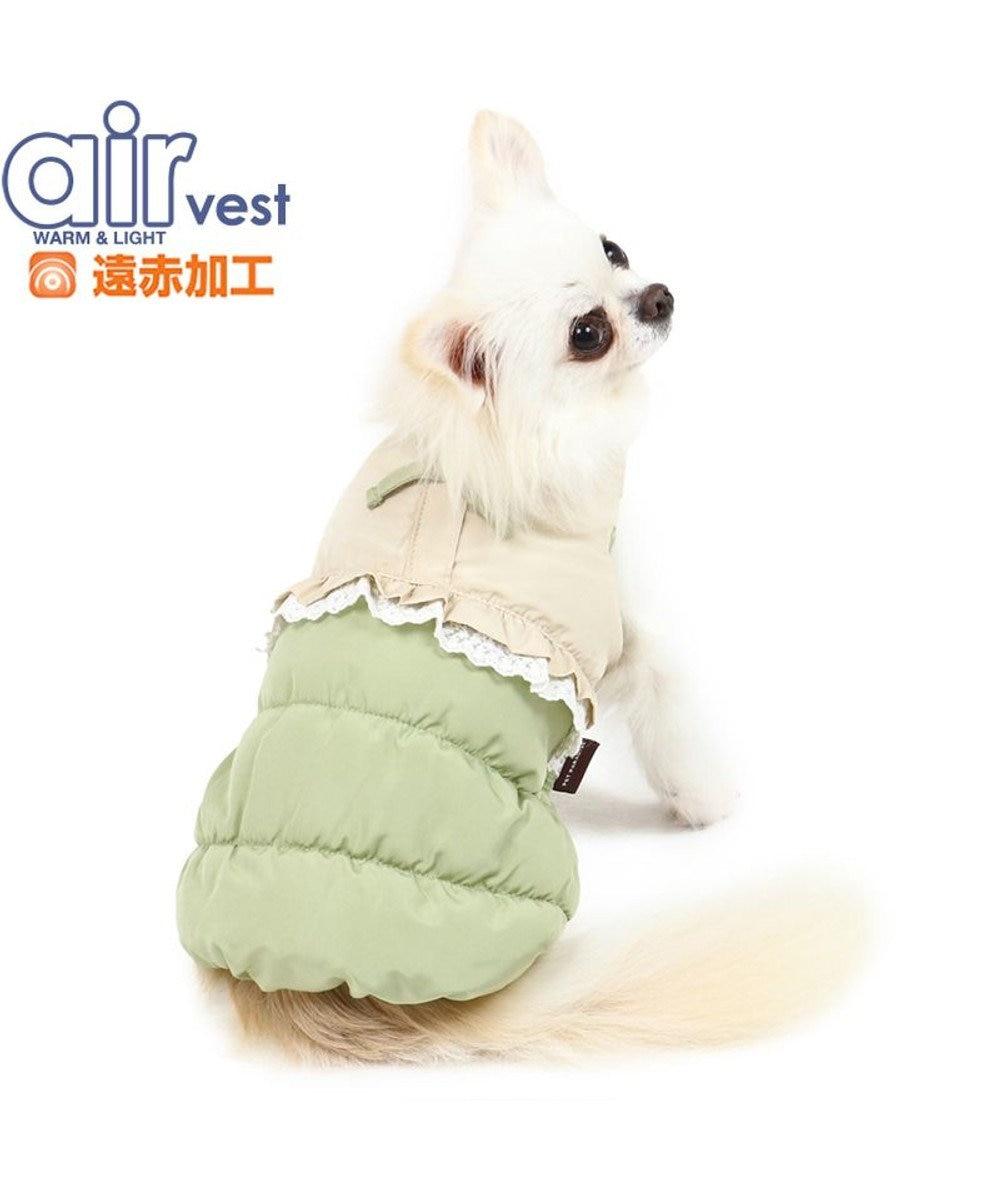 PET PARADISE 犬 服 秋服 遠赤外線 エアベスト 〔小型犬〕 レース 黄緑 ドッグウエア ドッグウエア いぬ イヌ おしゃれ かわいい 軽い あたたか 洗える 黄緑