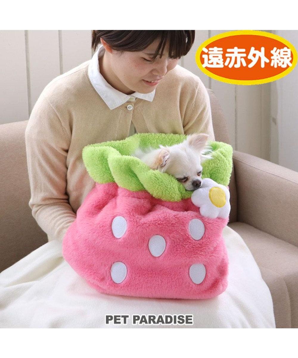 PET PARADISE 犬 ベッド おしゃれ 犬たんぽ (32×20cm) いちご 寝袋 もこもこ ふわふわ 犬 猫 ベッド ベット 小型犬 介護 おしゃれ かわいい クッション ネット限定 ピンク(淡)
