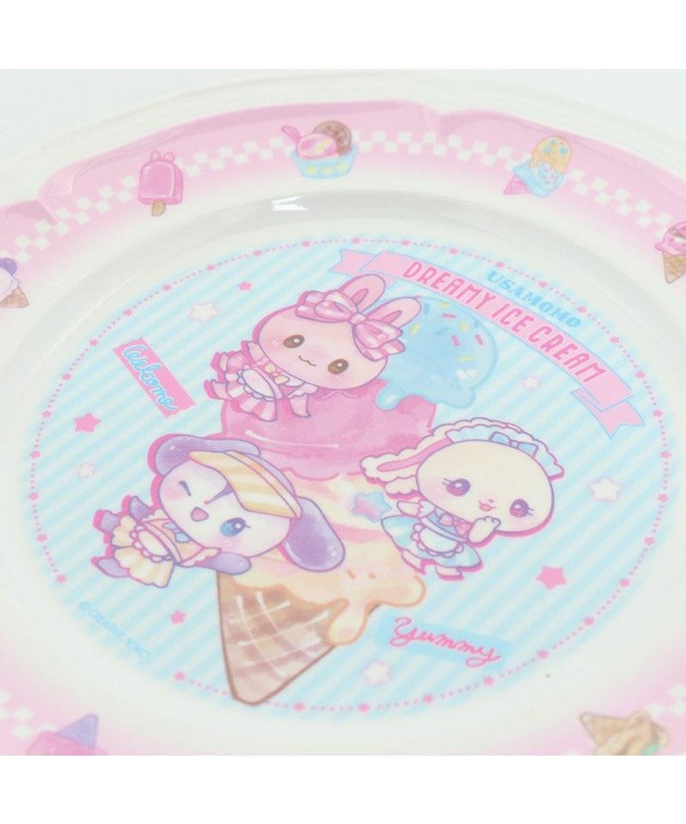 Mother garden マザーガーデン うさもも メラミン食器 ラウンドプレート 《アイス柄》 単品 食洗機可 子供用食器 メラミン製 お皿 プレート キッズ 女の子 かわいい 食器 マルチカラー