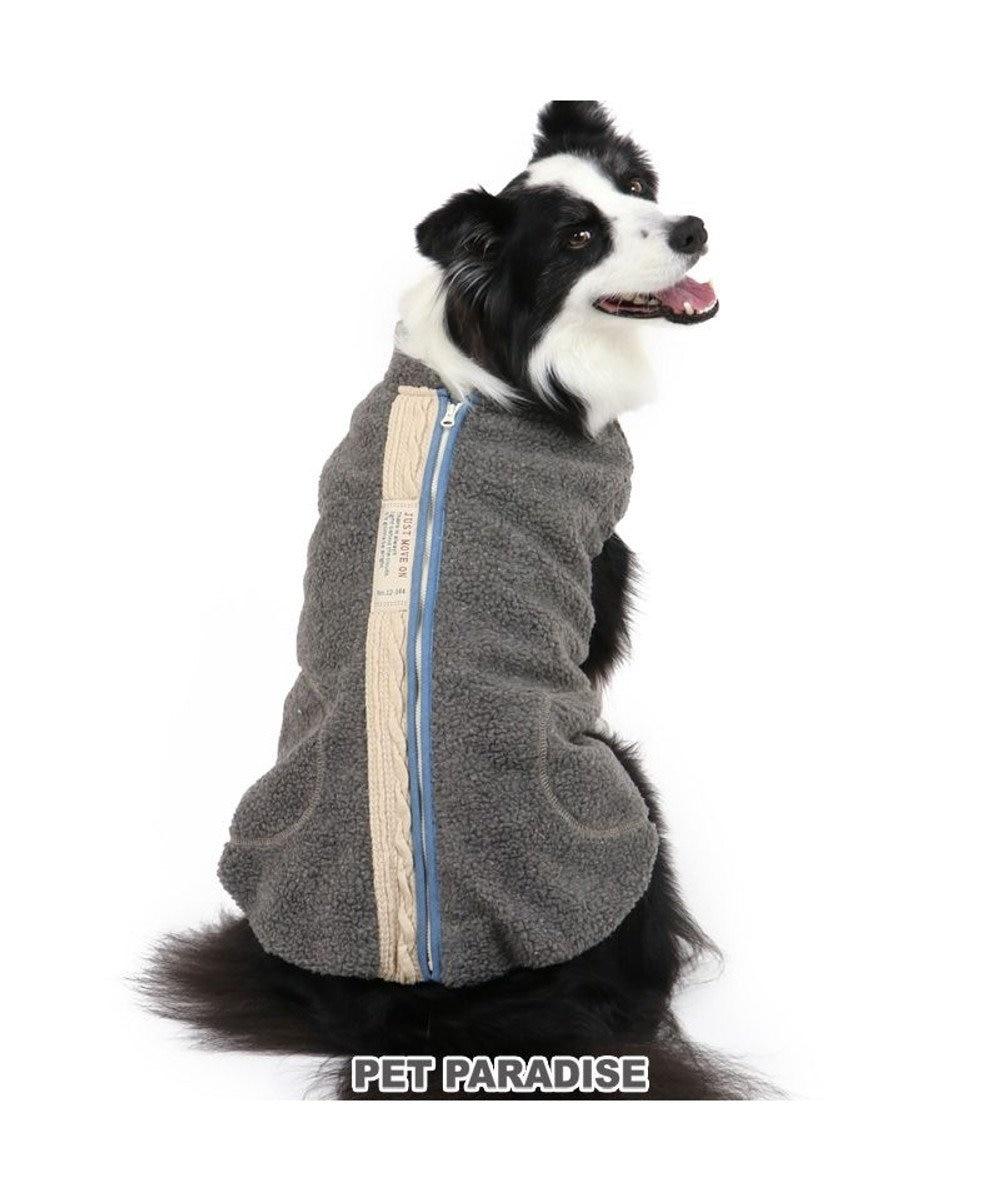 PET PARADISE 犬 服 秋服 遠赤外線 ベスト 〔中・大型犬〕 背開き ボア 犬服 犬の服 犬 服 ペットウエア ペットウェア ドッグウエア ドッグウェア 中型犬 小型犬 グレー