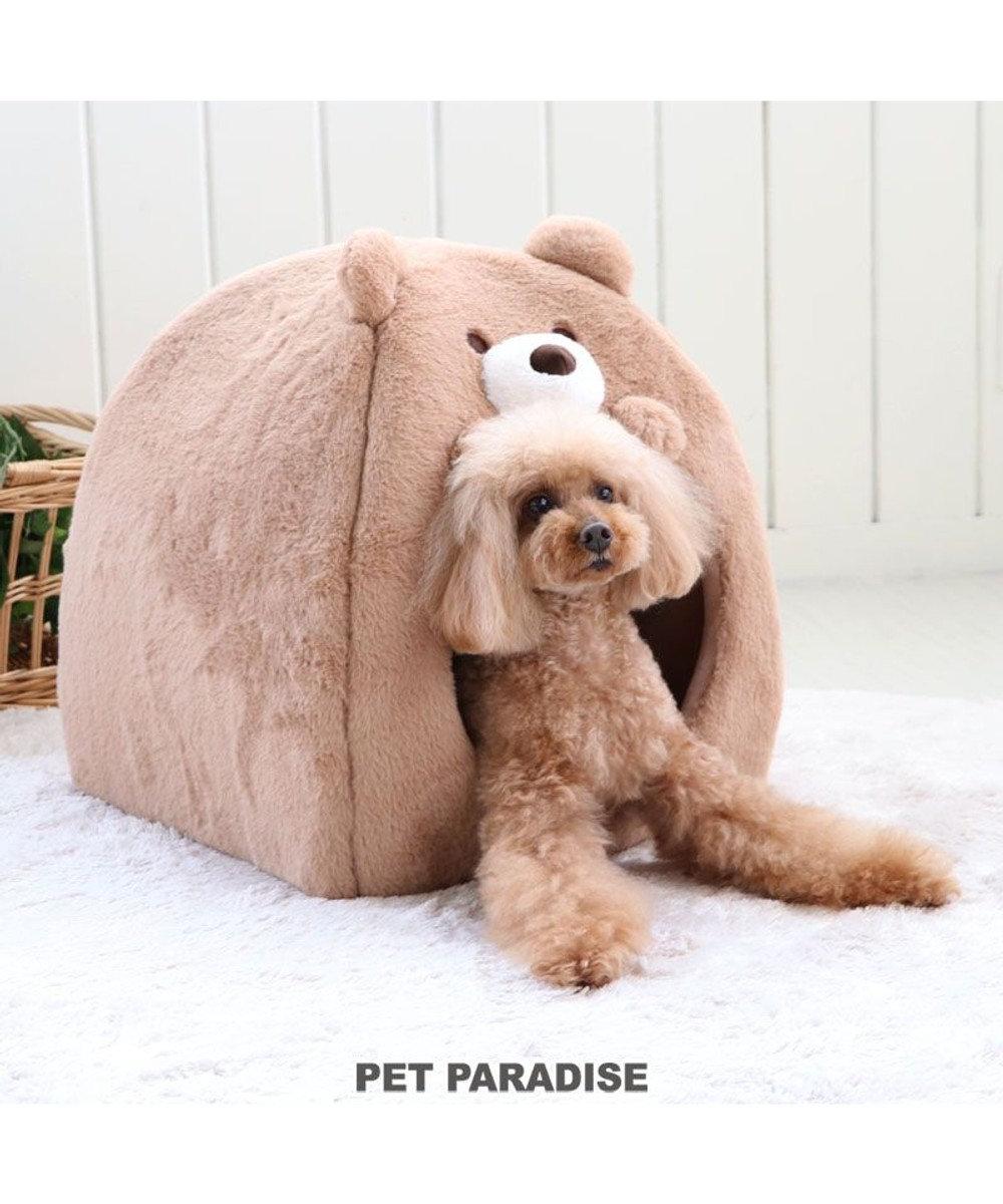 PET PARADISE 犬 猫 ペット ベッド ハウス  (38×38cm)  くまハウス 猫 小型犬 介護 ふわふわ 通年 春 夏 秋 冬 クッション ソファ カドラー おしゃれ 室内 ドーム 茶系