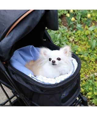 PET PARADISE 犬 春夏 クール 接触冷感 ペット ベッド リサとガスパール 筒型 カドラー(40×45cm) ボーダー柄 くるっとカドラー 夏 ひんやり 涼感 冷却 クール 洗える 犬 猫 ペットベット ハウス 小型犬 介護 ふわふわ クッション 水色