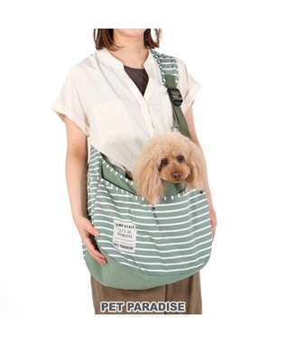 PET PARADISE 犬 キャリーバッグ ペットパラダイス ボーダー スリング 赤 緑 〔小型犬〕 緑