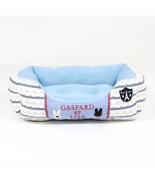 PET PARADISE 犬 春夏 クール 接触冷感 リサとガスパール 四角カドラーベッド(57×45cm) ボーダー 犬 猫 ベッド マット 小型犬 介護 おしゃれ かわいい ふわふわ あごのせ 水色