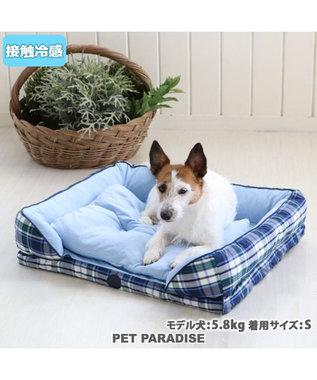PET PARADISE ペットパラダイス J.PRESS クール 接触冷感 ブラックウォッチ 四角カドラーベッド(60×45cm) 白~オフホワイト
