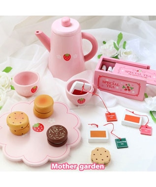 Mother garden マザーガーデン 木のおままごと ポット&紅茶セット 抗菌(441-95426) ピンク(淡)