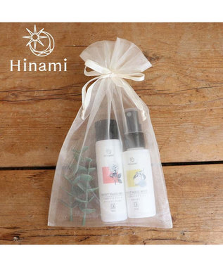 Mother garden 【Hinami】ハンドジェル&マスクミスト 巾着入り2本セット 父の日 母の日 プチプレゼント ギフト  プレゼント 白~オフホワイト