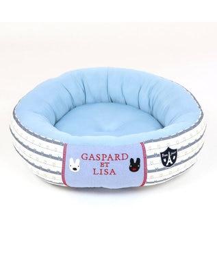 PET PARADISE 犬 春夏 クール 接触冷感 リサとガスパール 丸型 カドラーベッド(55cm) ボーダー 犬 猫 ベッド マット 小型犬 介護 おしゃれ かわいい ふわふわ あごのせ 水色