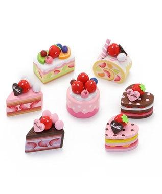 Mother garden マザーガーデン 木製 ミニケーキ ≪いちごラウンドケーキ≫ 単品 木のおままごと ショートケーキ 木のおもちゃ 磁石 マグネット くっつくおもちゃ 目印 マルチカラー
