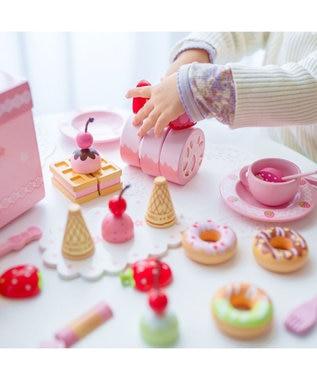Mother garden 《37万個突破》マザーガーデン 木製 おままごと 野いちご スウィートカフェリボン 《パステルティーポット付き》 木箱入り 木のおもちゃ 収納 誕生日 プレゼント 玩具 3歳 お祝い ピンク(淡)