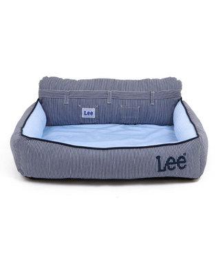 PET PARADISE ペットパラダイス Lee クール 接触冷感  ヒッコリー 四角カドラーベッド(60×51cm) 紺(ネイビー・インディゴ)