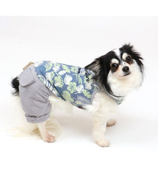 PET PARADISE 犬服 犬 服 ペットパラダイス クール 接触冷感 虫よけ ボタニカル パンツつなぎ 〔小型犬〕 超小型犬 小型犬 ひんやり 夏 涼感 冷却 吸水速乾 クールマックス 紺(ネイビー・インディゴ)