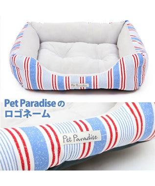 PET PARADISE 犬 春夏 クール 接触冷感 四角カドラーベッド M (57cm×45cm) ボーダー ブルー ピンク 青 桃 犬 猫 ベッド マット 小型犬 介護 おしゃれ かわいい ふわふわ あごのせ 青
