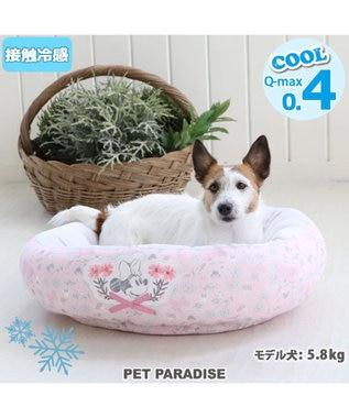 PET PARADISE 犬 春夏 クール 接触冷感 ディズニー ミニーマウス 丸型 カドラーベッド(55cm) ボタニカル 犬 猫 ベッド マット 小型犬 介護 おしゃれ かわいい ふわふわ あごのせ ピンク(淡)