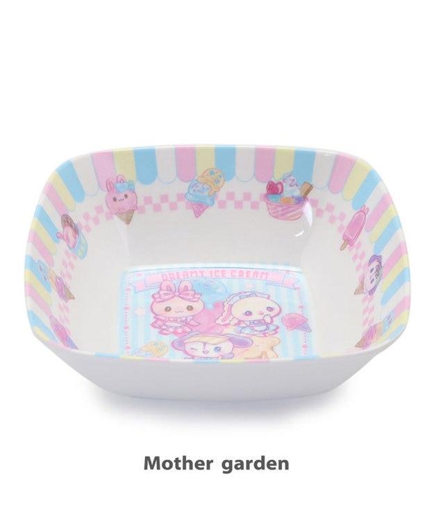 Mother garden マザーガーデン うさもも メラミン食器 スクエアボール 《アイス柄》 単品 食洗機可 子供用食器 メラミン製 四角 お皿 プレート キッズ 女の子 かわいい 食器