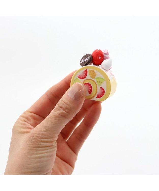 Mother garden マザーガーデン 木製 ミニケーキ ≪フルーツスクエア≫ 単品 木のおままごと ショートケーキ 木のおもちゃ 磁石 マグネット くっつくおもちゃ 目印