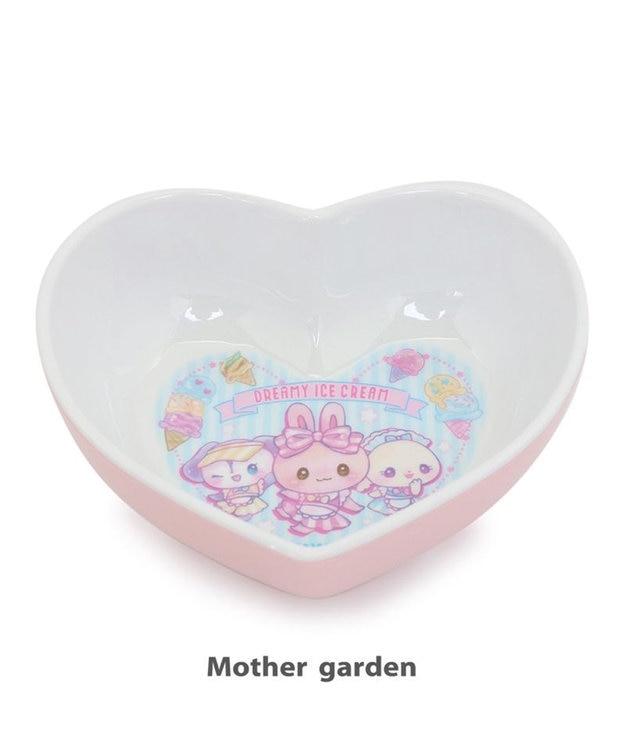Mother garden マザーガーデン うさもも メラミン食器 ハート皿 《アイス柄》 単品 食洗機可 子供用食器 メラミン製 お皿 プレート キッズ 女の子 かわいい 食器