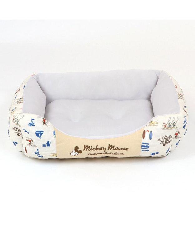 PET PARADISE 犬 春夏 クール 接触冷感 ディズニー ミッキーマウス 四角カドラーベッド(57cm×45cm) サーフ柄 犬 猫 ベッド マット 小型犬 介護 おしゃれ かわいい ふわふわ あごのせ