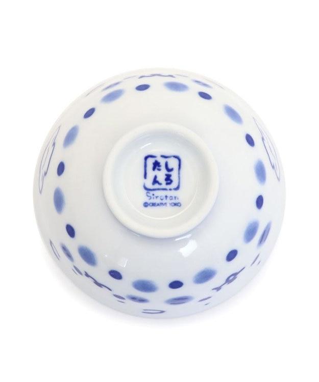 Mother garden しろたん ご飯茶碗 ご飯がくっつきにくい お茶碗 しろたん&らっこいぬ柄 青色 小 日本製 ご飯茶碗 ごはん茶碗 茶碗 ごはん ライスボウル 陶器 食器 あざらし アザラシ キャラクター かわいい 製法特許取得商品 マザーガーデン