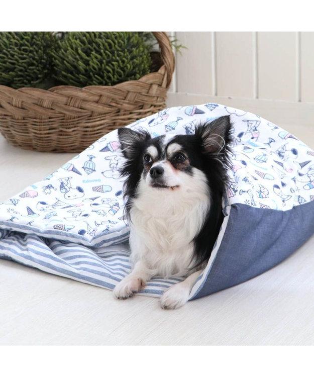 PET PARADISE 犬 春夏 クール 接触冷感 ペット ベッド スヌーピー 筒型 カドラー(40×45cm) アイスクリーム柄 くるっとカドラー 夏 ひんやり 涼感 冷却 クール 洗える 犬 猫 ペットベット ハウス 小型犬 介護 ふわふわ クッション