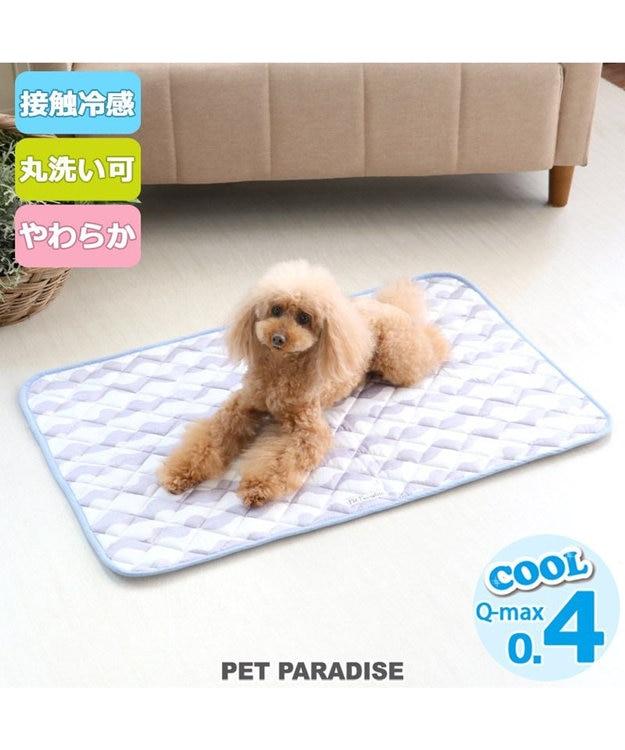 PET PARADISE ペットパラダイス 接触冷感 波柄 柔らか クールマット 大 (90cm×60cm)