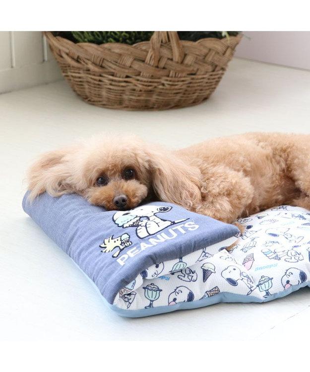 PET PARADISE 犬 春夏 クール 接触冷感 ペット ベッド スヌーピー 柔らか ロールマット(90×45cm) アイスクリーム柄