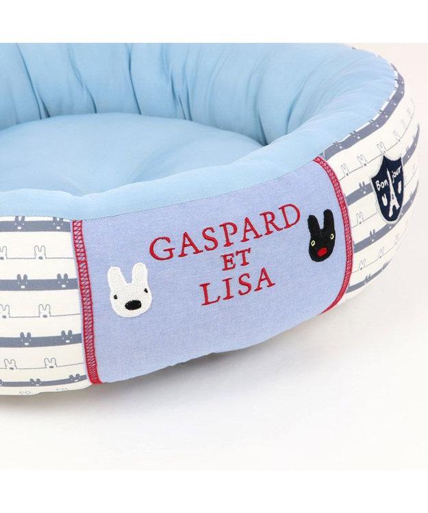 PET PARADISE 犬 春夏 クール 接触冷感 リサとガスパール 丸型 カドラーベッド(55cm) ボーダー 犬 猫 ベッド マット 小型犬 介護 おしゃれ かわいい ふわふわ あごのせ