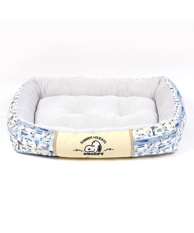 PET PARADISE 犬 春夏 クール 接触冷感 スヌーピー 四角カドラーベッド(65×46cm) サーフ柄 犬 猫 ベッド マット 小型犬 介護 おしゃれ かわいい ふわふわ あごのせ