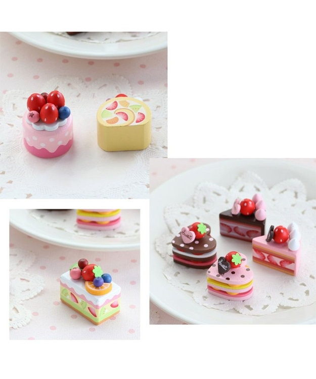 Mother garden マザーガーデン 木製 ミニケーキ ≪いちごラウンドケーキ≫ 単品 木のおままごと ショートケーキ 木のおもちゃ 磁石 マグネット くっつくおもちゃ 目印