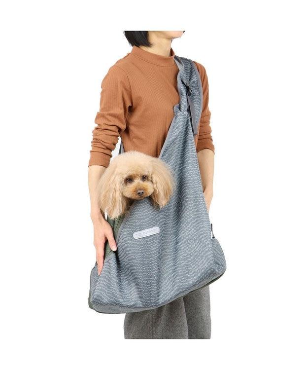PET PARADISE 犬 キャリーバッグ ペットパラダイス メッシュ スリング 灰×緑〔小型犬〕