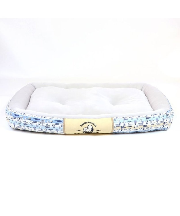 PET PARADISE 犬 春夏 クール 接触冷感 スヌーピー 四角カドラーベッド(100×70cm) サーフ柄 犬 猫 ベッド マット 小型犬 介護 おしゃれ かわいい ふわふわ あごのせ