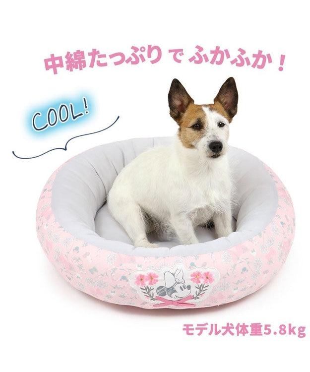PET PARADISE 犬 春夏 クール 接触冷感 ディズニー ミニーマウス 丸型 カドラーベッド(55cm) ボタニカル 犬 猫 ベッド マット 小型犬 介護 おしゃれ かわいい ふわふわ あごのせ