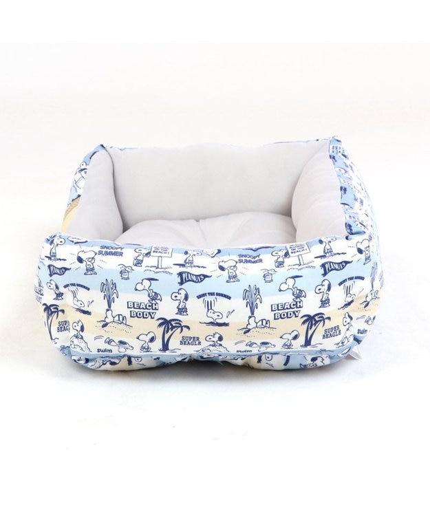 PET PARADISE 犬 春夏 クール 接触冷感 スヌーピー 四角カドラーベッド(38×32cm) サーフ柄 犬 猫 ベッド マット 小型犬 介護 おしゃれ かわいい ふわふわ あごのせ